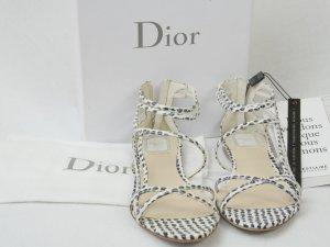 Christian Dior Sandalias de tacón de tiras blanco-negro