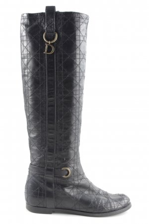 Dior Schaftstiefel schwarz Steppmuster Casual-Look