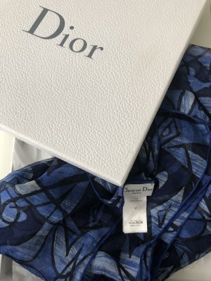 Christian Dior Silk Scarf steel blue-dark blue