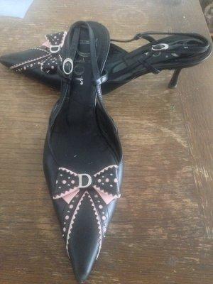 Dior Escarpin à bride arrière noir-rose cuir