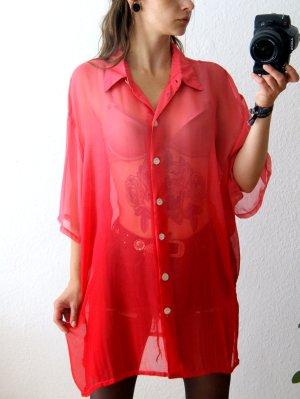 Dip Dye Bluse transparent pink-rot, oversized Bluse Farbverlauf, blogger Festival
