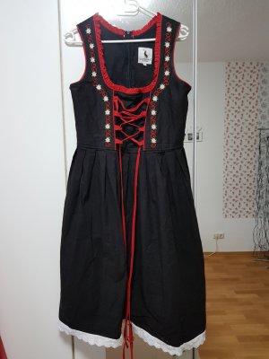 Alpenmärchen Vestido Dirndl negro-rojo