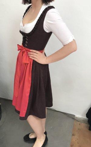 Original Steindl Vestido Dirndl marrón oscuro-bermejo