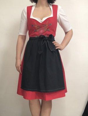 Vestido Dirndl rojo-gris antracita