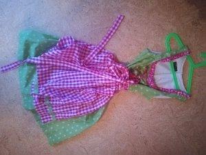 Vestido Dirndl rosa neón-verde hierba