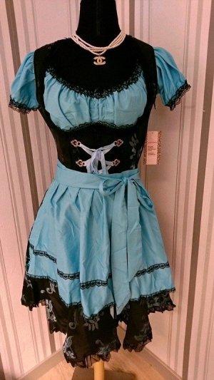 Vestido Dirndl negro-azul neón tejido mezclado