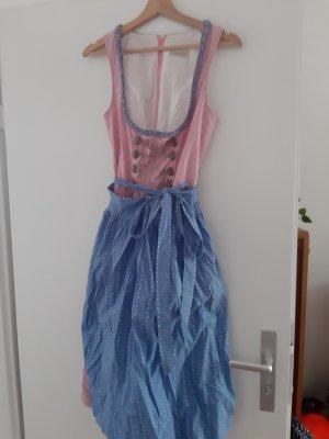 Dirndl rose clair-bleu azur