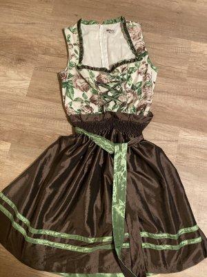 Alphorn Pinafore dress brown-forest green