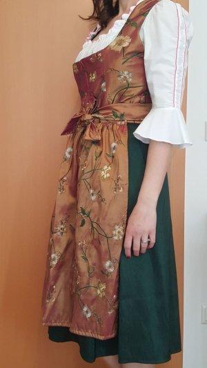 Vestido tradicional marrón-verde bosque Seda
