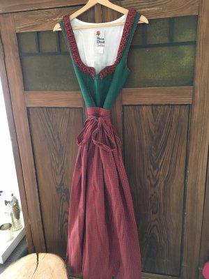 Rose Dirndl Vestido Dirndl rojo-verde oscuro