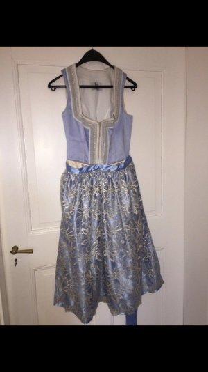Vestido Dirndl azul claro-crema