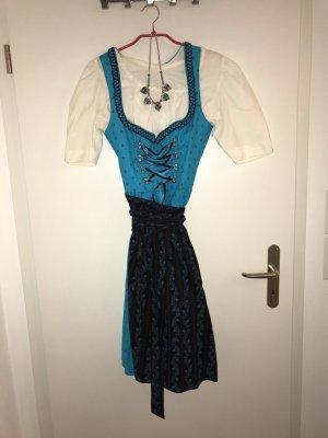 Dirndl blau/schwarz neu guter Zustand Größe 34 + Bluse + Halskette