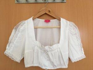 Dirndl Bluse mit halblangem Arm in weiß