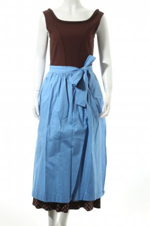 Dirndl brown-light blue flower pattern classic style