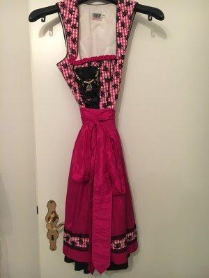 Dirndl Country Line kariert schwarz, weiß, pink