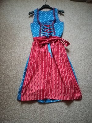 Vestido Dirndl azul acero-rojo Algodón
