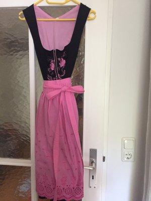 Dirndl Gr. 36, Midi, schwarz mit Blumenstickereien und rosa Schürze
