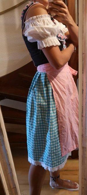 dirndl gr. 36 s rosa hellblau mit schuerze