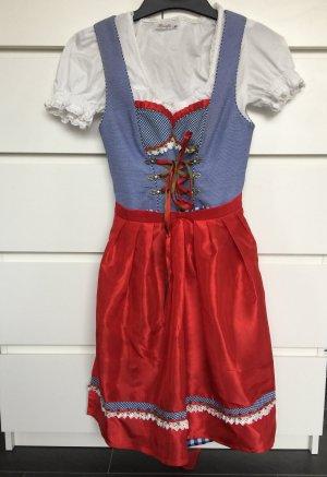 Dirndl Gr. 36/S rot/blau inkl. passender Bluse und Täschchen