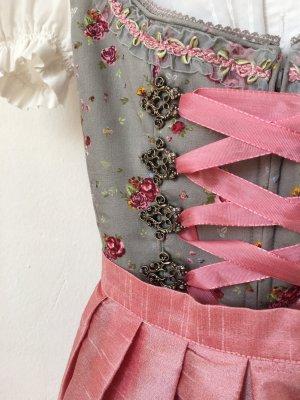 Dirndl grau rosa Rosen Schürze Stockerpoint Größe 34 fast neu