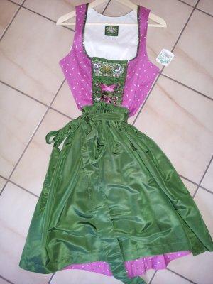 Dirndl Größe 34 Pink Grün mit Pailletten von Hammerschmid Neu XS