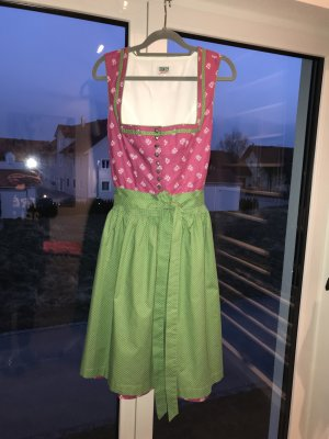 Dirndl, Größe 36 / 38, pink mit grüner Schürze