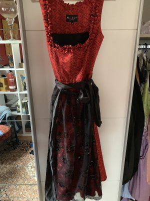 Melega Vestido Dirndl negro-rojo