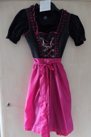 Dirndl Größe 38 schwarz mit weißen Punkten, pink