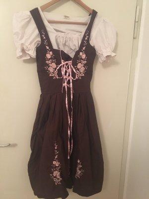 Vestido Dirndl marrón-negro-rosa