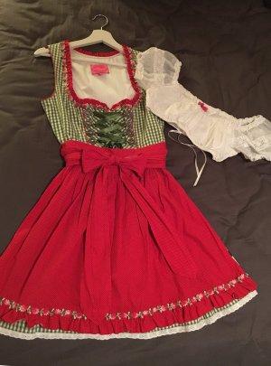 Dirndl grün/rot mit Bluse