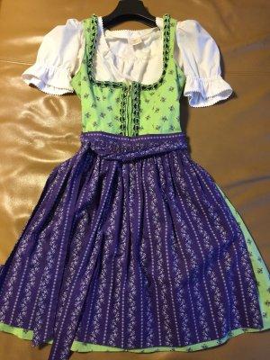 Dirndl grün & violett ohne Bluse - Gr.34/ S - H. Moser
