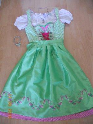 Dirndl hellgrün/pink komplett inklusive Bluse,Tasche und Schmuck