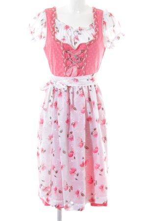 Vestido Dirndl rojo claro estampado floral estilo country
