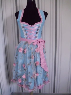 Dirndl bleu clair-rosé polyester