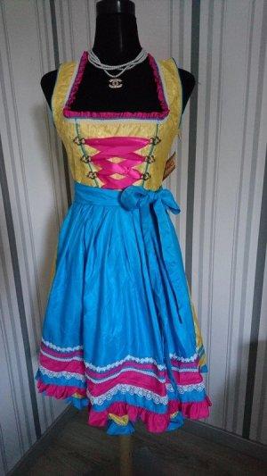 Vestido Dirndl amarillo-azul tejido mezclado