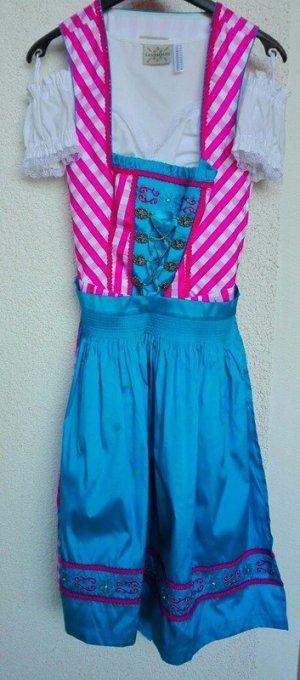 Dirndl in pink - blau mit Bluse