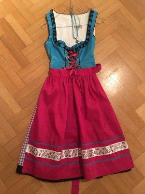 Dirndl in Pink-Türkis mit Bluse