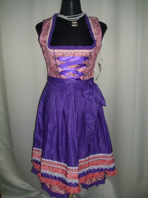 Dirndl rose-violet tissu mixte