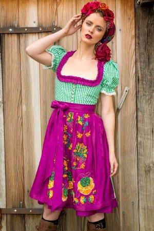 Vestido Dirndl púrpura-verde claro Algodón