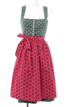 Vestido Dirndl caqui-rojo neón estampado floral estilo clásico