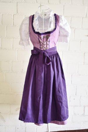 Dirndl blanc-violet tissu mixte