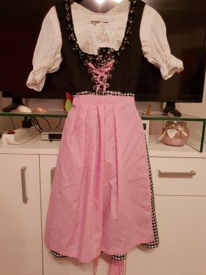 Dirndl Knielang Schwarz Weiß Pink Rosa 3 teilig kariert