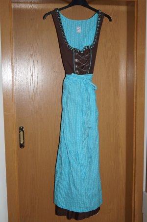 Dirndl, knöchellang braun/hellblau mit Unterrock Gr. 38