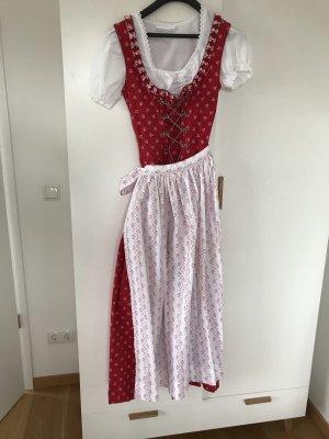 Dirndl lang Maxi rot Schürze Bluse 34 Stockerpoint