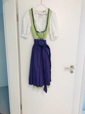 Hammerschmid Dirndl verde chiaro-blu-viola Cotone