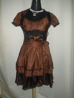 Vestido Dirndl negro-marrón tejido mezclado