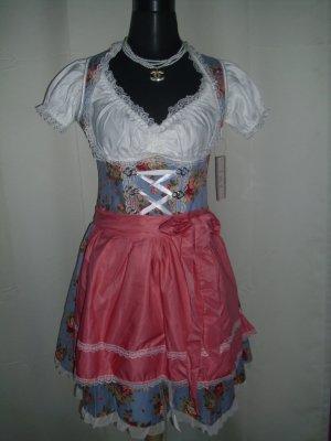 Dirndl mit Bluse und Schürze in blau/rosa Größe M = 38