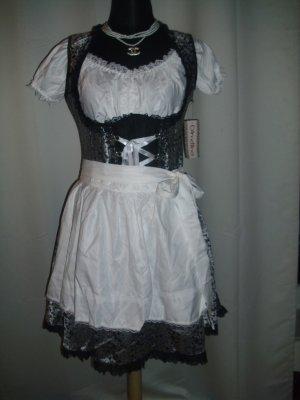 Dirndl mit Bluse und Schürze in silber/weiß/schwarz Größe 42