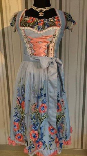Vestido Dirndl azul-rosa tejido mezclado