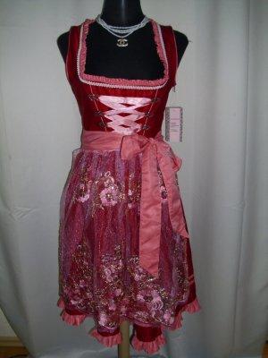 Dirndl mit Schürze  in rosa/rot  Größe 42